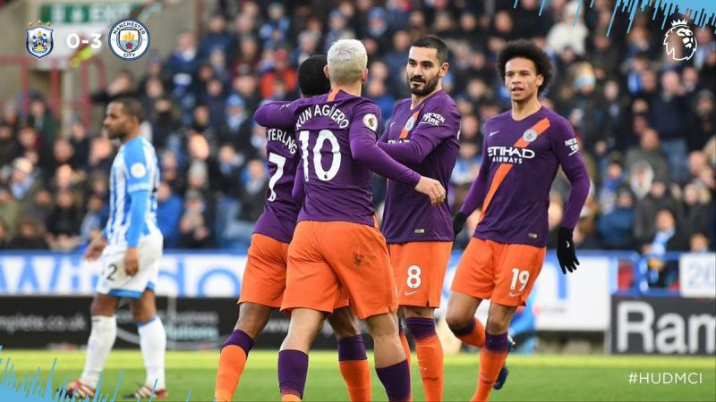 Sane on song as Man City wins at Huddersfield