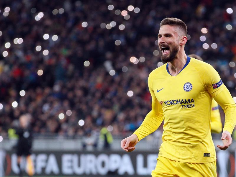 Olivier Giroud sets Europa League record in big Chelsea win