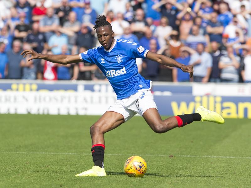 Joe Aribo returns to Rangers training with protective skull cap