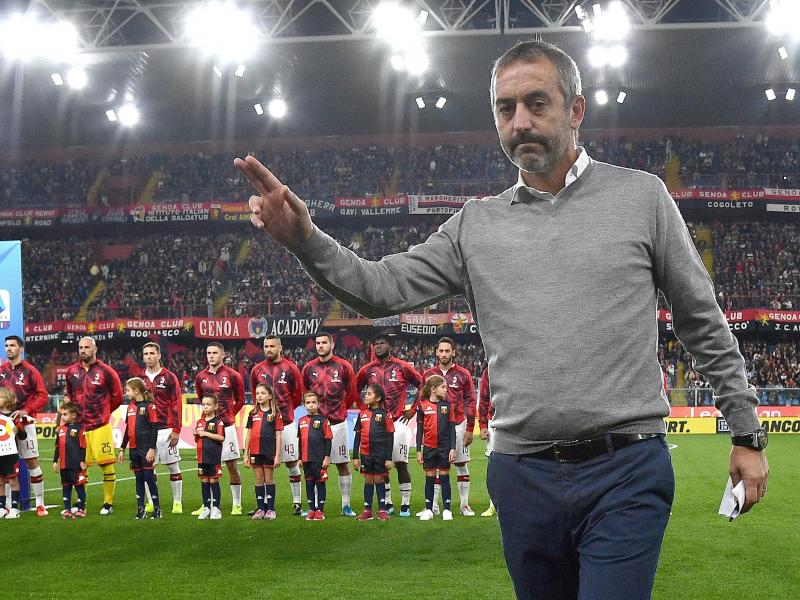 AC Milan's Marco Giampaolo almost lost his job during the halftime break against Genoa