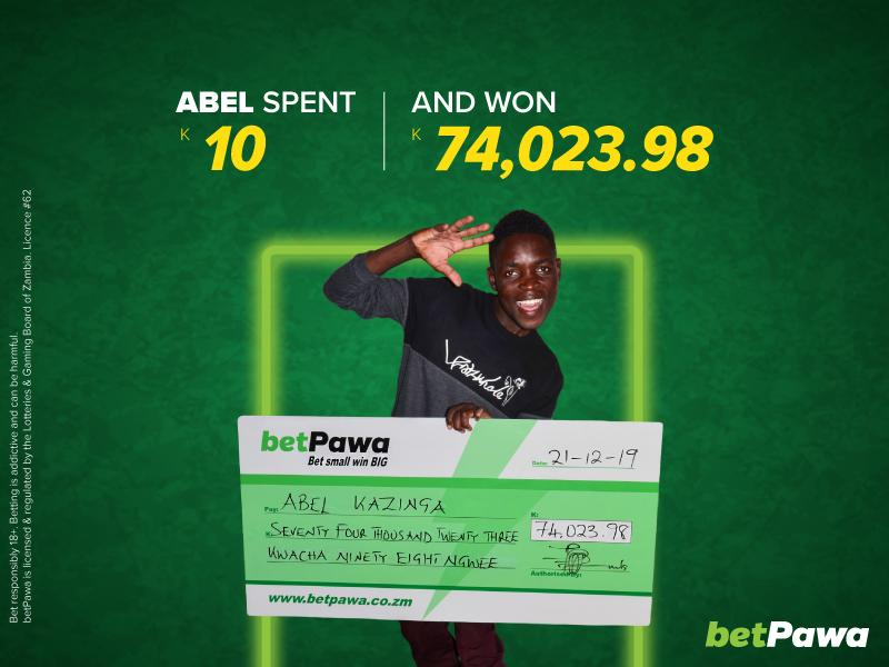 betPawa customer wins K74,023.98 with first K10 bet