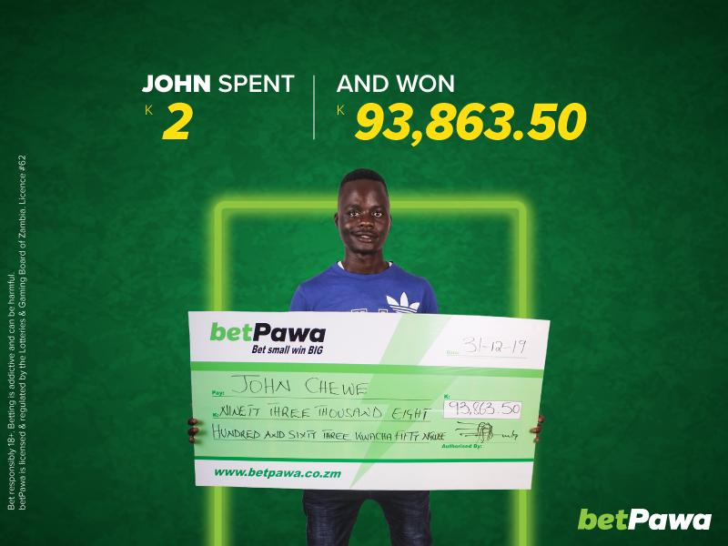 Away wins help John bet K2 and win K93,863.50 with betPawa