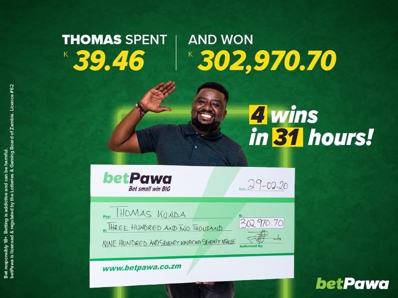 betPawa customer collects K302,970.70 after four wins in 31 hours