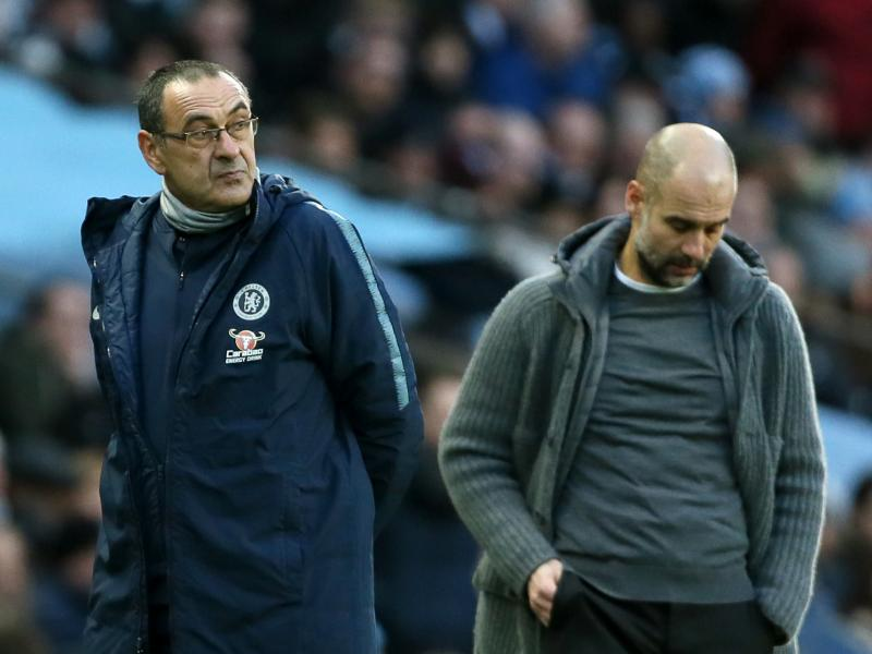 WATCH: Sarri refuses to shake Guardiola's hand after Chelsea thrashing
