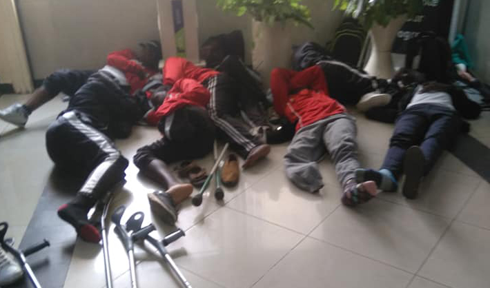 Image result for amputee team spends night at Ministry boardroom